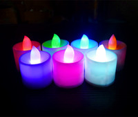 Wholesale 24 colors of Electronic LED Candle Flickering Tea Light Xmas Wedding Party Flameless Flickering Tea Light indoor outdoor use