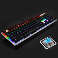 metal panel - LINGBAO JIGUANSHI Backlit Computer Gaming Emitting Led Light Modes Mechanical Keyboard Black Blue OUTEMU Switches Metal Panels