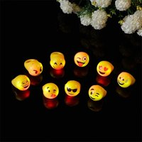 Wholesale 2016 New Emoji Smile Expression LED Rings Flashing Jelly Rings Halloween Light Up Finger Rings Festival Party supplies lighted toys B881