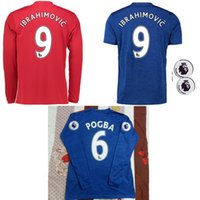 Wholesale Mixed buy Top Thailand Quality Long sleeve MancHester soccer Jerseys home away UnITED Ibrahimovic POGBA