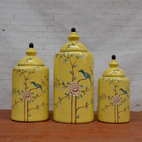 american classic cabinets - Tao Caicai the American village yellow flower pot Trade decoration decorative ceramic jug cabinet Decor