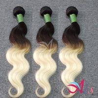 Cheap Cheap 7A Brazilian Hair Ombre Blonde 2 Tones Body Wave 1B 613 Brazilian Weaves 3 Bundles 100g per pc NO Shedding Human Hair Weave