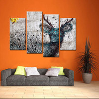 Wholesale 4 Panel Wall Art Painting Abstract Deer Pictures Prints On Canvas Animal The Picture Decor Oil For Home Modern Decoration Print