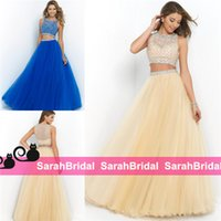 ball gown skirt separate - 2016 Stunning Fashion Two Pieces Prom Dresses Separates Sheer Sparkly Beaded Cropped Top and Long Full Length Ball Gowns Skirt Evening Gowns