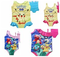 Wholesale Poke kids children swimwear kids poke Pikachu one piece bathsuit baby girls swimming suit Bathing Bikini Suits KKA897