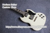 Wholesale Latest Finished SG Standard Guitar White Pearl Headstock Logo Binding Fretboard In Stock For Sale