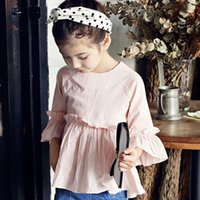 Wholesale Baby girls three quarter sleeve T shirt kids fashion cotton shirt for autumn and spring princess clothing