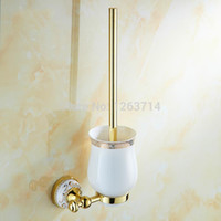 Wholesale Toilet Brush Holder Solid Brass Golden Polished Ceramic Cup W Brush Wall Mounted Cleaning Brush Set HJ K