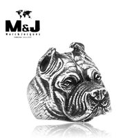 american bulldog white - Punk Bulldog sale titanium stainless steel Animal ring men jewelry fashion cool STR Y5003