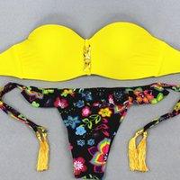 band bathing suits - 2017 New Sexy Bikinis Women Swimsuit Print Pattern Reversible Band Bikini Brazillian Swimwear Bathing Suits Yellow