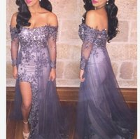 Wholesale 2016 Hot Sale Prom Dress Sexy Bateau A line High Split Beaed Appliques Over Skirt with Tulle Graduation Dress
