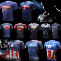 Wholesale 2016 Higher Quality Marvel Super Heroes superman Captain America Avenger Transformers D quick dry breathable compression tights Gym T shirt