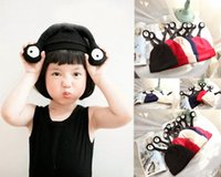 Wholesale Funny Children Hats Pocket Monster Eyes Naughty Shape Winter Warm Wool Kids Caps Colors Can Choose DA001