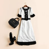 Wholesale Europe and the United States women s wear the new spring summer The runway looks lace slim dress buttons