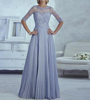 Wholesale Elegant Mother of the Bride Dresses Half Sleeve Appliques Fashion Custom made Elegant Women A line Wedding Party Dress