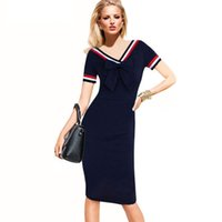 Wholesale Bow Tie Women Patchwork Dress Short Sleeve New Fashion Korean Style Pencil Dresses Summer Elegant Slim Office Ladies Bodycon Dress