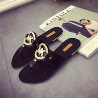 beach slippers women - 2016 New Luxury MK Brand Sandals For Women Fashion Women Sandals Slipper PU Leather Beach Shoes Flat Sandals Flip Flops Retail Box