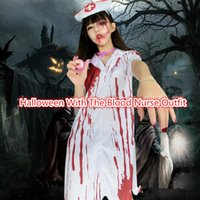 adult nurse halloween costumes - Halloween Adult Clothing Bloody Horror Nurse Dress with The Blood One piece Favourite Without A Stethoscope