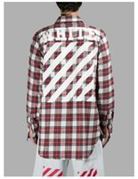 best check shirts - Best version Off White Virgil Abloh plaid flannel street wear casual Long sleeve cotton Check Shirts