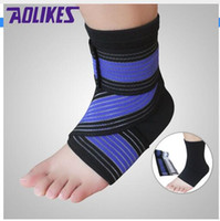Wholesale AOLIKES Professional Sports Ankle Strain Wraps Bandages Elastic Ankle Support Brace Protector For Fitness Running