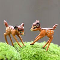 achat en gros de noël figurines gros-Vente en gros Réaliste Décoration de Noël ornement de jardin miniature mignon cerfs Figurine Fée Dollhouse animal Plante Decor Accessoires