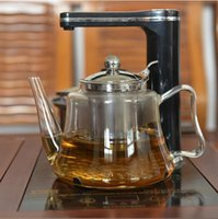 Wholesale new arrival induction cooker special use glass tea pot With stainless steel infuser filter kettle glass