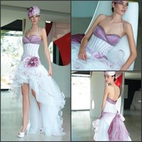 Wholesale Charming Sexy Cheap Halter Taffeta and Tulle Short Front Long Back Corset High Low Purple and White Bridal Wedding Gowns Dresses Customed