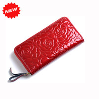 ans bag - 2016 New Arrival Fashion Women Rose Flower Print Purse Second Layer Genuine Leather Brand Long Wallet Clutch Bag ANS OL QP