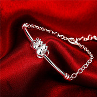 Wholesale Hot sale christmas gift silver Double Cat Bracelet DFMCH389 Brand new fashion sterling silver Chain link bracelets high grade
