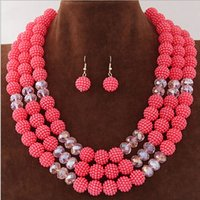 Wholesale Wedding African Beads Jewelry Sets Crystal Necklace Earrings Set for Women Party Gift New Statement Jewelry Joias