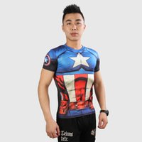 Wholesale 2016 Gym Compression Shirt Superman Captain America Punisher Iron man D Print T Shirt Superhero Crossfit Mens Style T Shirt
