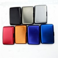 Wholesale Waterproof Slim card box Business ID Credit Card Wallet Holder Stainless Steel Polish Finish Metal Case Box Card Holders Colors Fan shaped
