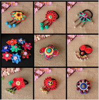 Wholesale National styles Hair Rubber Bands Special hair rope accessories hair flowers handcraft hair hoop cloth headdress flower hair bands