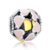 Wholesale Pink Gold Heart Hollow Pandora Charm Beads Sterling Silver Jewelry Big Hole for DIY Bracelet Necklace