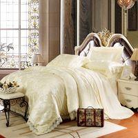 Wholesale Aestheticism Cotton Tencel Modal Jacquard four piece cotton satin wedding lace sheet