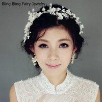 Wholesale Elegant Bridal Pearl Flower Headpiece Luxury Handmade Adjustable Wedding Crystal Hair Accessories