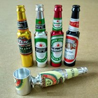 weed pipes - Mini Beer Bottle Smoke Metal Pipes Portable Creative Smoking Pipe Herb Tobacco Pipes Gifts narguile Weed Grinder Smoke