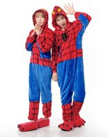 Wholesale Hoodies Adults Spiderman Onesie Women Men Anime Cartoon Cosplay Costumes Party Dress Sleepwear hbn
