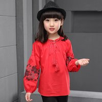 Wholesale 2016 Brand Autumn Spring Girls Ethnic Print Vintage T shirt Cotton Children School Long Sleeve Lovely Clothing Two Colors