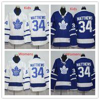 best leaf - 2016 Kids Toronto Maple Leafs Jersey Blue Youth Auston Matthews Ice Hockey Jerseys White Womens Matthews Jersey All Stitched Best Quality