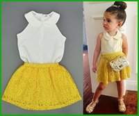 america snow - yellow girls dress suits children sundress vestido lovely casual america europe style fashiion turn down collar lace snow print hot selling