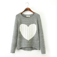 az standards - Fashion Women Coat Big Love Heart Sweater Pullovers lady Casual Knitted Coat two Colors az