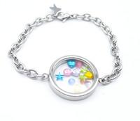 Wholesale stainless steel glass memory locket bracelet twist floating locket bracelet