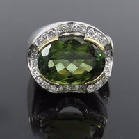 Bague tourmaline en or vert France-Fine 9,28ct Green Turmaline 0.62ct Diamant 18K Gold Ring Taille 5.75