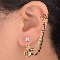 Wholesale New Arrival Fashion Gold Plated Clip Earrings Exquisite Tree Flower Lips Anchor Note Iron Tower Shape Earrings For Women
