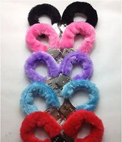 adult toy wholesale - Different Colors Furry Handcuffs Women Hand Wrists Cuffs Restraints SM Bondage Gear Sex Product Toys For Adult