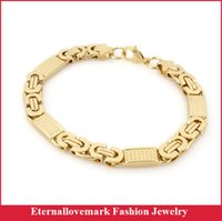Wholesale 18k Gold plated byzantine chain bracelet fashion stainless steel mens jewelry for biker Length inch