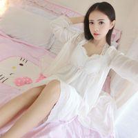 Wholesale Summer Women Long White Nightgown Princess Slash neck Sleeping Dress Women Nightgowns Long Robe Vintage Sleepwear Suit