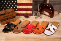 Wholesale New H Brand Designer Genuine Leather Sandals Summer Fashion Beach Slippers Open Toe Casual Woman Flat Sandals Shoes Size