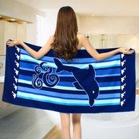 bath towel fabric - Body Towel Cute Style Microfiber Fabric Dolphin Beach Towel Quick Dry Bath Towel Fitness Beach Swim Camping x150cm